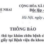 Thông báo số 152/TB-BVHN Về việc tiếp tục thực hiện thủ tục khám chữa bệnh cho các đối tượng có BHYT bằng thẻ giấy tại Bệnh viện Đa khoa Hòe Nhai